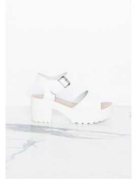 Millie White Cleated Wedge Sandals by Missy Empire