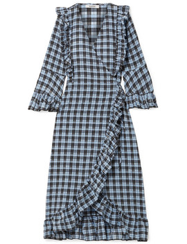 Charron Ruffled Checked Coated Cotton Blend Seersucker Wrap Dress by Ganni
