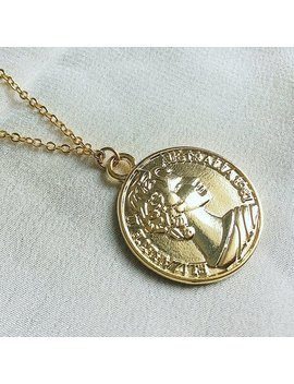Coin Necklace, Gold Plated Necklace, Gold Coin Necklace, Gifts For Her, Gold Medallion, Gold Disc, Dainty Jewelry by Arlinka Designs