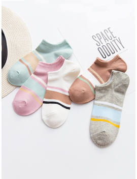 Color Block Invisible Socks 5 Pairs by Romwe