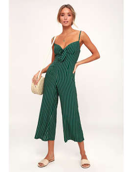 Presley Green Striped Tie Front Wide Leg Jumpsuit by Faithfull The Brand