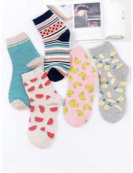 Fruit Print Ankle Socks 5pairs by Romwe