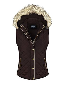 Makeitmint Women's Quilted Padding Jacket Vest With Faux Fur Hood by Makeitmint