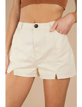 Francine Cream Split Hem Shorts by Tobi