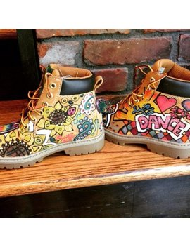 """New Designs! Girls And Boys Unisex Ooak Custom Hand Drawn Painted """"Glam Grunge"""" Timbs Art Only by Mini Missy Designs"""