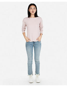 Ribbed Shirttail Hem Sweater by Express