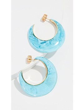 Marbled And Metal Medium Hoop Earrings by Dinosaur Designs