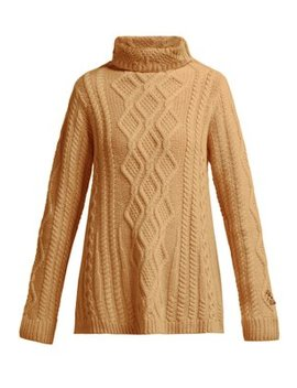 Hester Cable Knit Cashmere Roll Neck Sweater by Queene And Belle