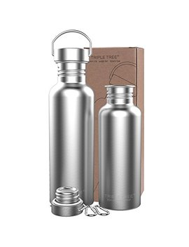 Triple Tree Stainless Steel Water Bottle, Non Insulated Bpa Free Leak Proof Single Walled Sports Bottle Jug For Cyclists, Runners, Hikers, Beach Goers, Picnics, Camping 34 Oz 26 Oz 17 Oz by Triple Tree