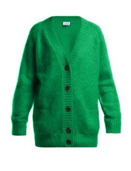V Neck Mohair Blend Cardigan by Prada