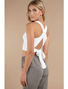 Knot Now White Ribbed Tank Top by Tobi