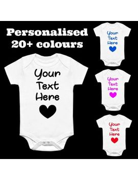 Personalised Novelty Printed Baby Grow Vest Gift Any Name Words Funny Baby Heart by Ebay Seller