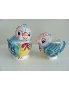 Vintage Geo. Z  Lefton Blue Bird Cream And Sugar Set Covered Creamer Japan 7170 by Ebay Seller