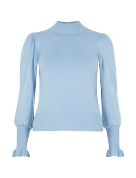 Petite Blue Knit Frill Trim Sweater by River Island