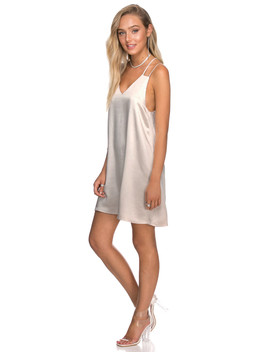 שמלת סאטן מוניק כתפיות כפולות by Adika
