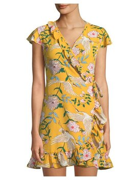 Bird & Flower Print Wrap Dress by Free Generation