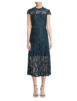 Macie Satin Lace Illusion Midi Dress by Tahari Asl