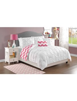 Vcny Home White Kara Pintuck Reversible Chevron Bedding Comforter Set, Decorative Pillows Included by Vcny Home