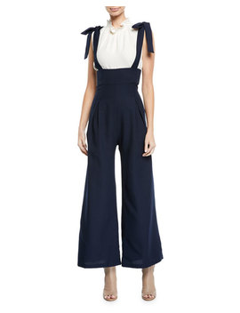 Tie Shoulder Wide Leg Overall Jumpsuit by Endless Rose