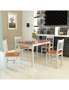 Costway 5 Pcs Pine Wood Dinette Dining Set Table And 4 Chairs Home Kitchen Furniture by Costway