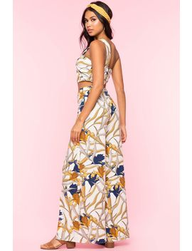 Tropical One Shoulder 2 Piece Pant Set by A'gaci