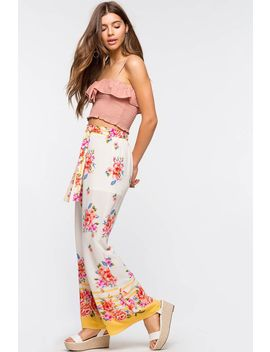 Border Stripe Floral Tie Wide Leg by A'gaci