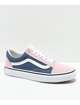 Vans Old Skool Indigo &Amp; Chalk Pink Skate Shoes by Vans