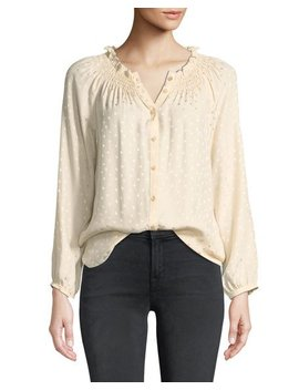 Long Sleeve Jacquard Silk Button Front Top by Rebecca Taylor