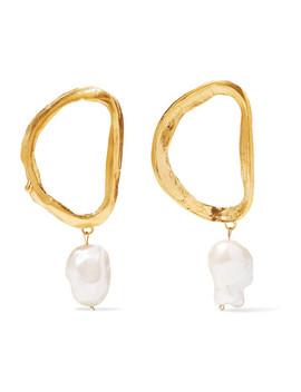 Dante's Shadow Gold Plated Pearl Earrings by Alighieri