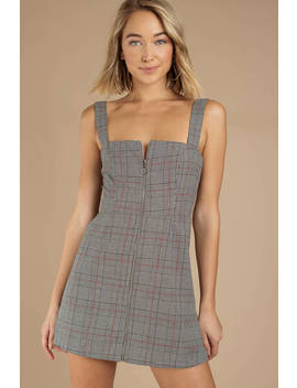 Miss Me Grey Plaid Dress by Tobi