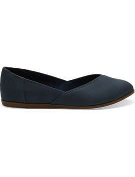 Navy Synthetic Suede Women's Jutti Flats by Toms