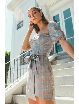 Gia Grey Multi Plaid Dress by Tobi