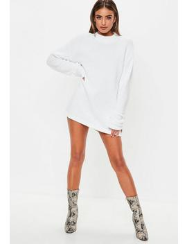 White Ribbed Jumper Dress by Missguided