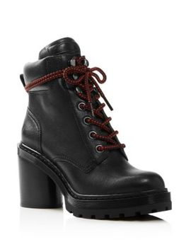 Women's Crosby Round Toe Leather Platform Hiking Boots by Marc Jacobs