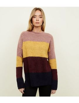Multicoloured Block Stripe Jumper by New Look