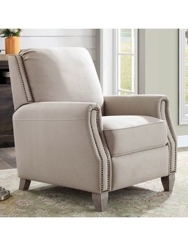 Better Homes & Gardens Pushback Recliner, Taupe Fabric Upholstery With Bronze Nail Head Trim by Better Homes & Gardens