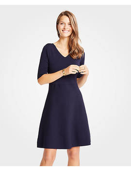 Petite Wide V Neck Flare Sweater Dress by Ann Taylor