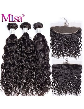 Mi Lisa Hair Brazilian Water Wave 3 Bundles With Lace Frontal Closure Remy 100 Percents Human Hair Weave 13x 4 Lace Frontal With Bundle by Mi Lisa