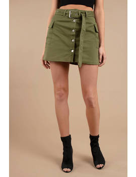On Duty Olive Cargo Mini Skirt by Tobi