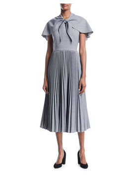 Wool Suiting Midi Dress With Attached Capelet by Co