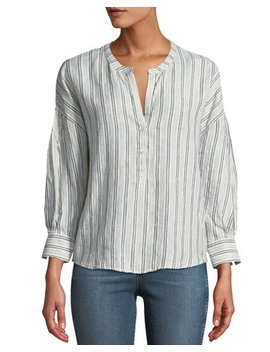 Bekette Striped Linen Button Front Top by Joie