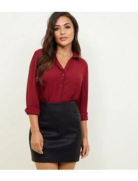 Petite Black Faux Pocket Leather Look Mini Skirt by New Look