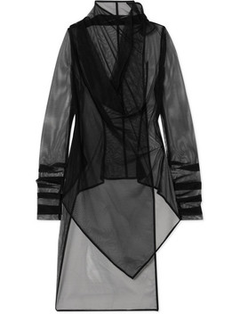 Asymmetric Draped Tulle Top by Rick Owens