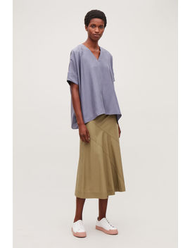 Boxy V Neck Silk Top by Cos