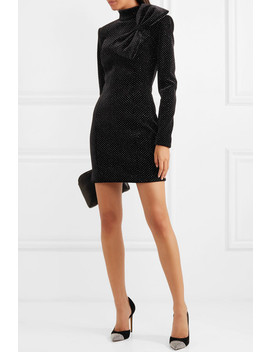 Bow Detailed Glittered Stretch Velvet Mini Dress by Balmain