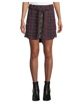 Felicity Plaid Tie Waist Button Skirt by Rag & Bone
