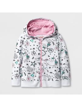 Toddler Girls' Unicorn Hooded Sweatshirt   Cat & Jack™ White by Cat & Jack™