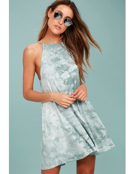 Sing Along Sage Green Tie Dye Swing Dress by Billabong