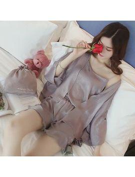 Bamela   Pajama Set: Camisole + Shorts + Robe by Bamela