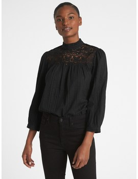 Crochet Lace Trim Mockneck Blouse by Gap